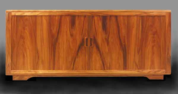 Mid-Century Koa Credenza with bookmatched tambour front.