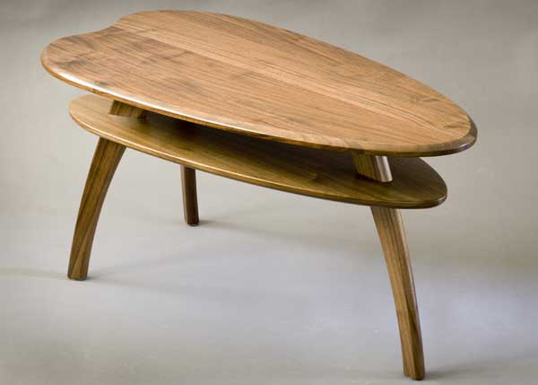George and Jane (Jetson) coffee table, in walnut.