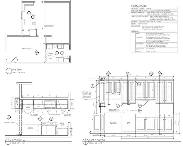 Shop drawings for cherry and figured maple kitchen.