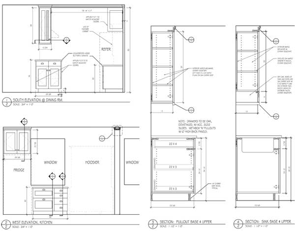 Cherry and figured maple kitchen drawings, page 2.