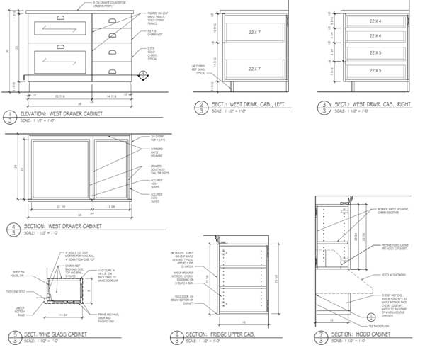 Cherry and figured maple kitchen drawings, page 3.