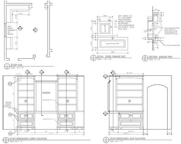 Shop drawings for study bookcases.