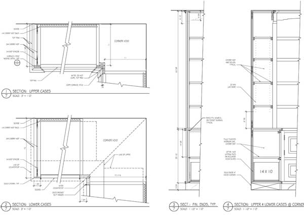 Study bookcase drawings - sections.